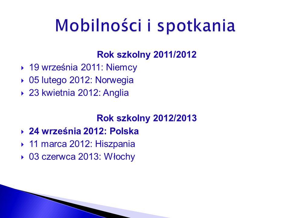 Rok szkolny 2011/2012 19 września 2011: Niemcy 05 lutego 2012: Norwegia 23 kwietnia 2012: Anglia Rok szkolny 2012/2013 24 września 2012: Polska 11 marca 2012: Hiszpania 03 czerwca 2013: Włochy