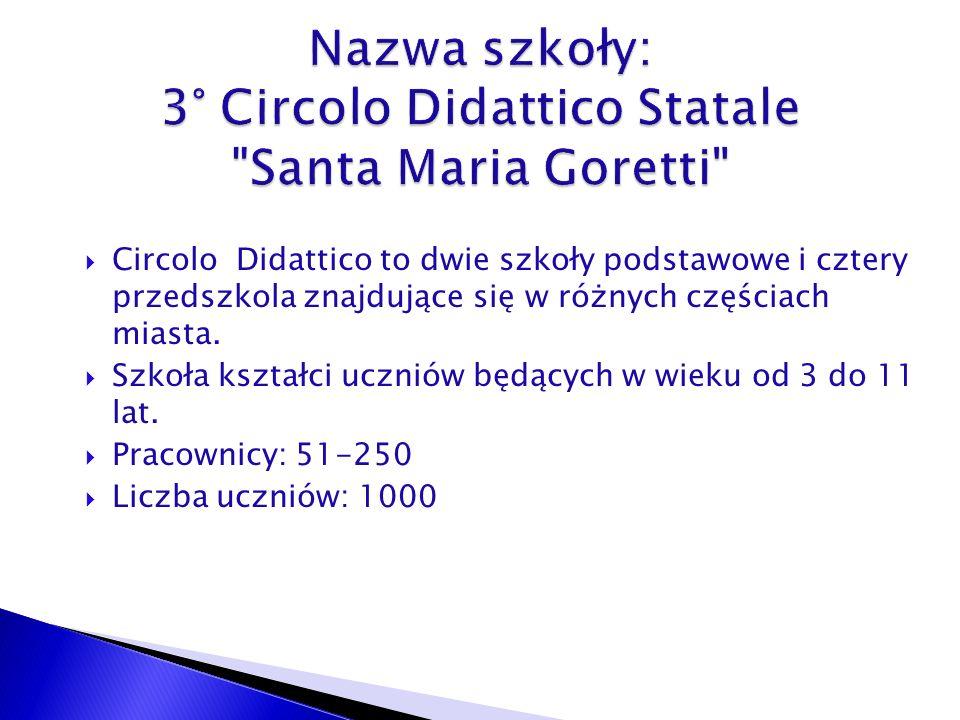 Circolo Didattico to dwie szkoły podstawowe i cztery przedszkola znajdujące się w różnych częściach miasta.