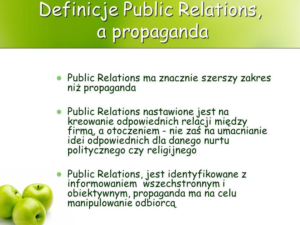 Definicje Public Relations, a propaganda Public Relations ma znacznie szerszy zakres niż propaganda Public Relations nastawione jest na kreowanie odpo