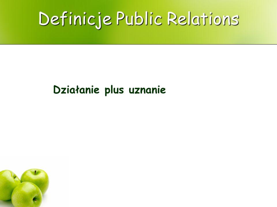 Definicje Public Relations Public Relations to funkcja zarządzania, która nawiązuje i podtrzymuje wzajemne korzystne stosunki między instytucją oraz grupami (publics), od których zależy jej sukces lub klęska.
