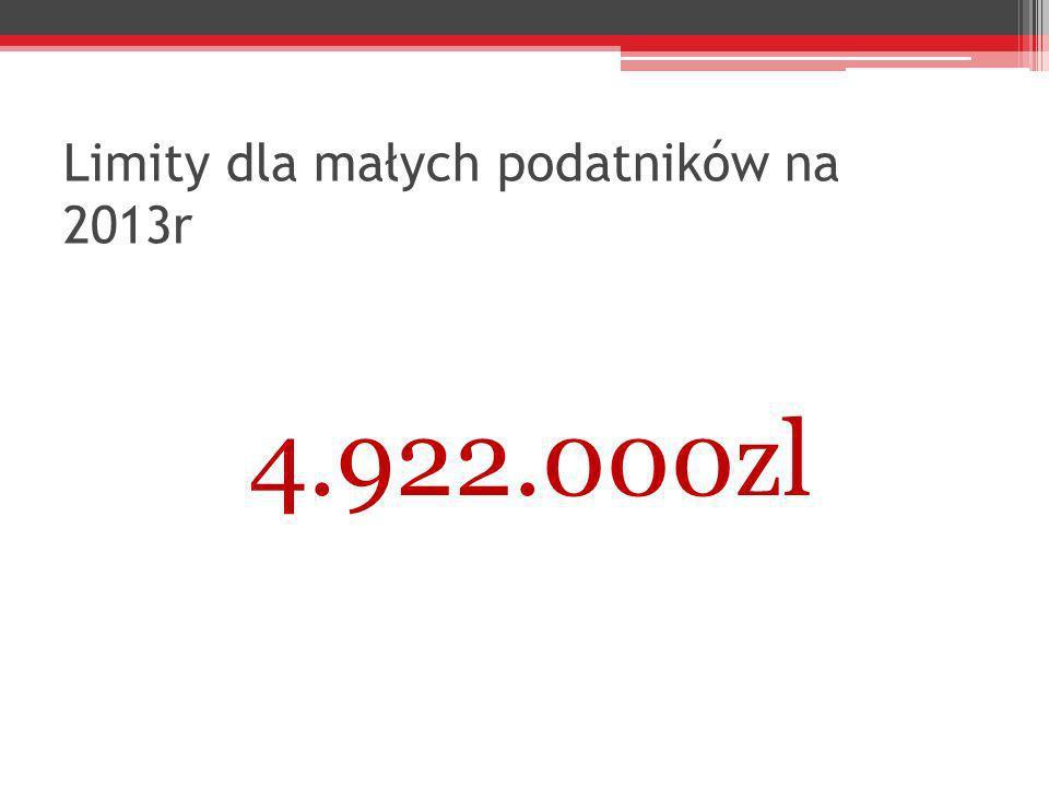 Limity dla małych podatników na 2013r 4.922.000zl