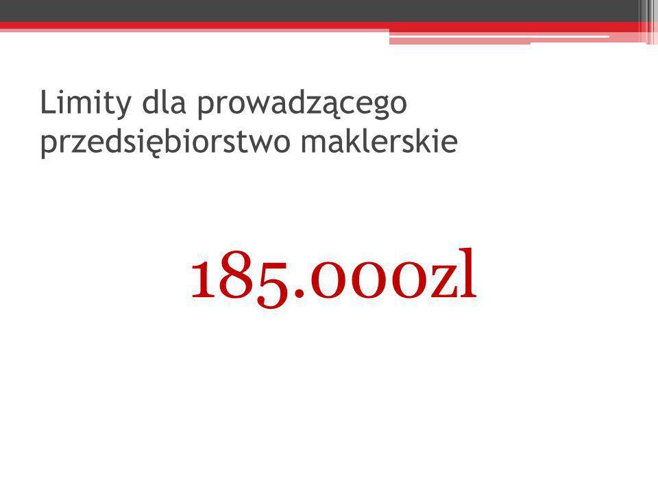 Limity dla prowadzącego przedsiębiorstwo maklerskie 185.000zl