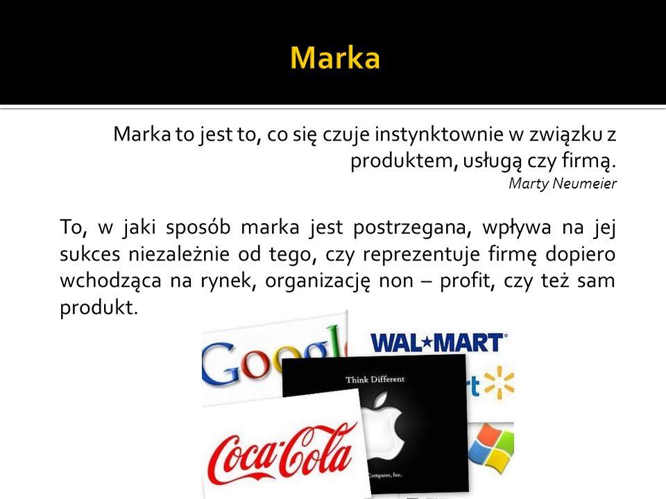 Marka to jest to, co się czuje instynktownie w związku z produktem, usługą czy firmą. Marty Neumeier To, w jaki sposób marka jest postrzegana, wpływa