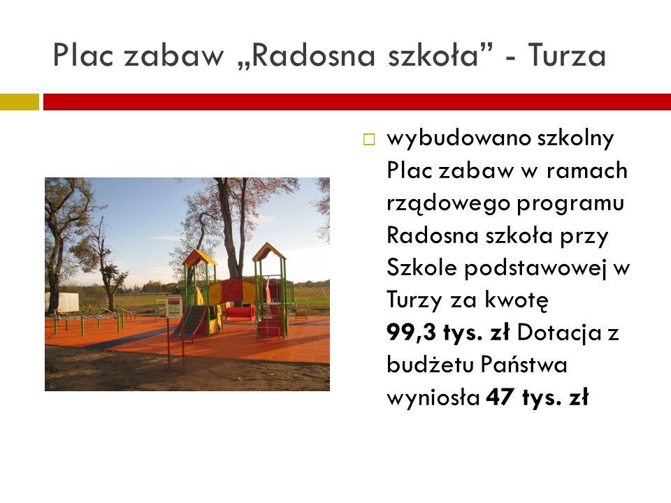Plac zabaw Radosna szkoła - Turza wybudowano szkolny Plac zabaw w ramach rządowego programu Radosna szkoła przy Szkole podstawowej w Turzy za kwotę 99,3 tys.
