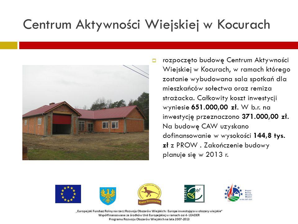 Centrum Aktywności Wiejskiej w Kocurach rozpoczęto budowę Centrum Aktywności Wiejskiej w Kocurach, w ramach którego zostanie wybudowana sala spotkań dla mieszkańców sołectwa oraz remiza strażacka.