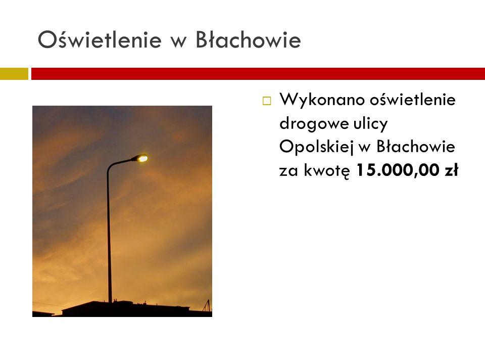 Oświetlenie w Błachowie Wykonano oświetlenie drogowe ulicy Opolskiej w Błachowie za kwotę 15.000,00 zł