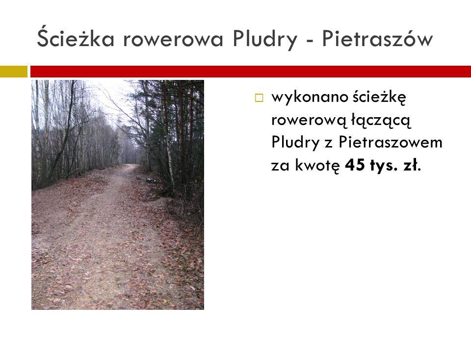 Ścieżka rowerowa Pludry - Pietraszów wykonano ścieżkę rowerową łączącą Pludry z Pietraszowem za kwotę 45 tys. zł.