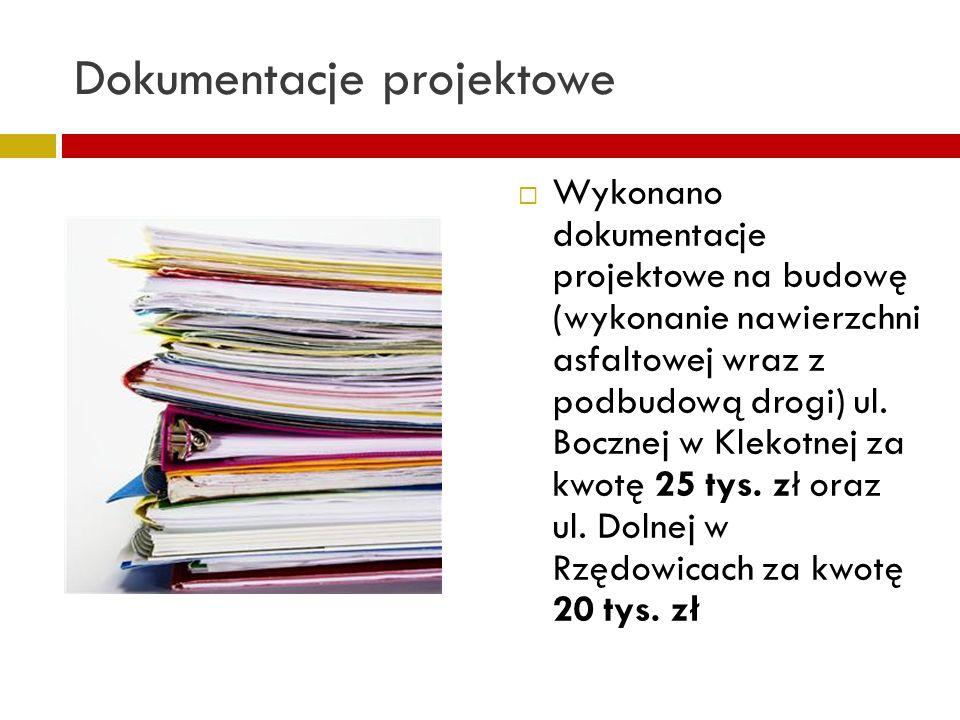 Dokumentacje projektowe Wykonano dokumentacje projektowe na budowę (wykonanie nawierzchni asfaltowej wraz z podbudową drogi) ul. Bocznej w Klekotnej z