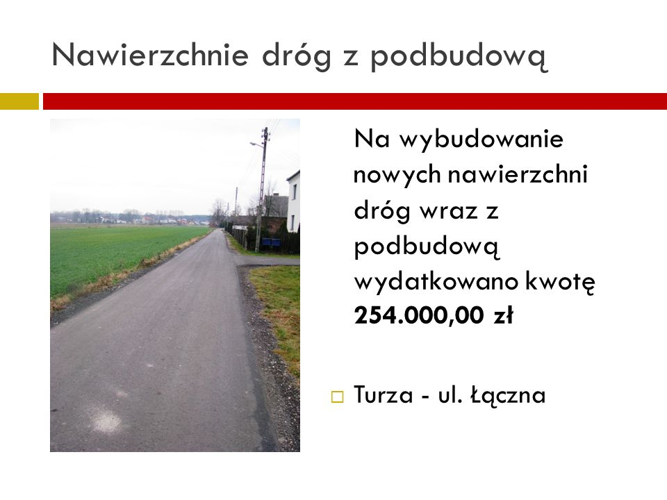 Nawierzchnie dróg z podbudową Na wybudowanie nowych nawierzchni dróg wraz z podbudową wydatkowano kwotę 254.000,00 zł Turza - ul. Łączna