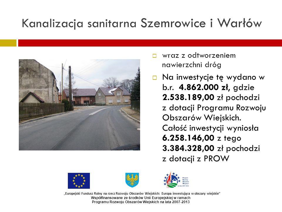 Kanalizacja sanitarna Szemrowice i Warłów wraz z odtworzeniem nawierzchni dróg Na inwestycje tę wydano w b.r. 4.862.000 zł, gdzie 2.538.189,00 zł poch