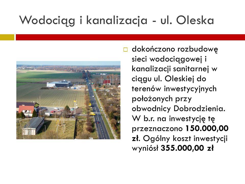 Wodociąg i kanalizacja - ul. Oleska dokończono rozbudowę sieci wodociągowej i kanalizacji sanitarnej w ciągu ul. Oleskiej do terenów inwestycyjnych po