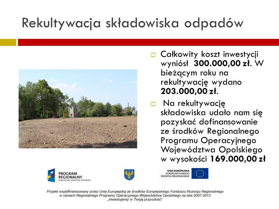 Rekultywacja składowiska odpadów Całkowity koszt inwestycji wyniósł 300.000,00 zł. W bieżącym roku na rekultywację wydano 203.000,00 zł. Na rekultywac