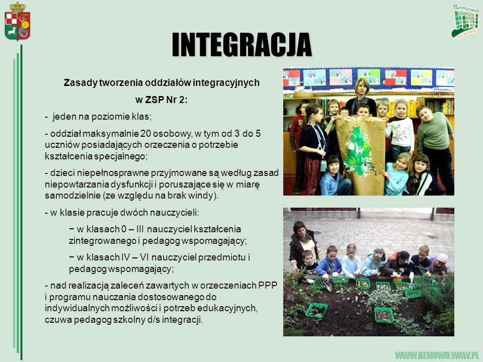 INTEGRACJA Zasady tworzenia oddziałów integracyjnych w ZSP Nr 2: - jeden na poziomie klas; - oddział maksymalnie 20 osobowy, w tym od 3 do 5 uczniów posiadających orzeczenia o potrzebie kształcenia specjalnego; - dzieci niepełnosprawne przyjmowane są według zasad niepowtarzania dysfunkcji i poruszające się w miarę samodzielnie (ze względu na brak windy).