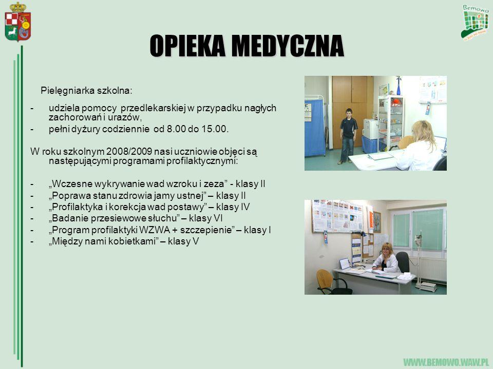 OPIEKA MEDYCZNA Pielęgniarka szkolna: -udziela pomocy przedlekarskiej w przypadku nagłych zachorowań i urazów, -pełni dyżury codziennie od 8.00 do 15.00.