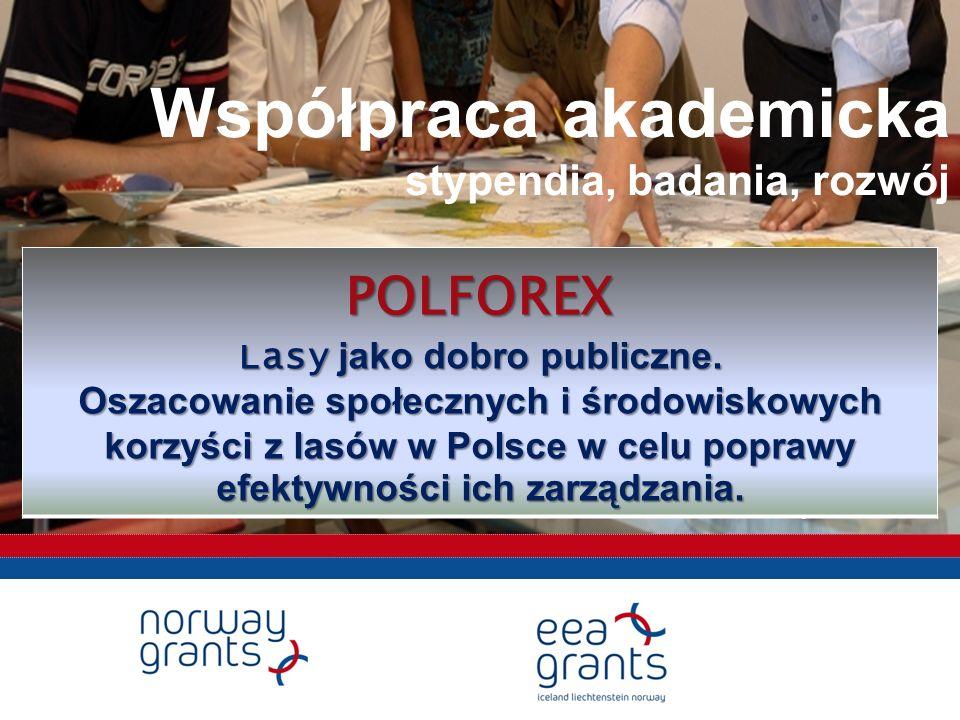 Współpraca akademicka stypendia, badania, rozwój Warszawa, 9 listopada 2010POLFOREX Lasy jako dobro publiczne.