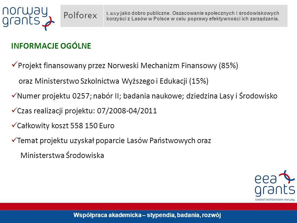 Współpraca akademicka – stypendia, badania, rozwój INFORMACJE OGÓLNE Projekt finansowany przez Norweski Mechanizm Finansowy (85%) oraz Ministerstwo Szkolnictwa Wyższego i Edukacji (15%) Numer projektu 0257; nabór II; badania naukowe; dziedzina Lasy i Środowisko Czas realizacji projektu: 07/2008-04/2011 Całkowity koszt 558 150 Euro Temat projektu uzyskał poparcie Lasów Państwowych oraz Ministerstwa Środowiska Polforex Lasy jako dobro publiczne.