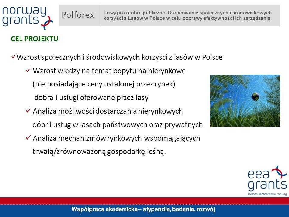 Współpraca akademicka – stypendia, badania, rozwój CEL PROJEKTU Wzrost społecznych i środowiskowych korzyści z lasów w Polsce Wzrost wiedzy na temat popytu na nierynkowe (nie posiadające ceny ustalonej przez rynek) dobra i usługi oferowane przez lasy Analiza możliwości dostarczania nierynkowych dóbr i usług w lasach państwowych oraz prywatnych Analiza mechanizmów rynkowych wspomagających trwałą/zrównoważoną gospodarkę leśną.