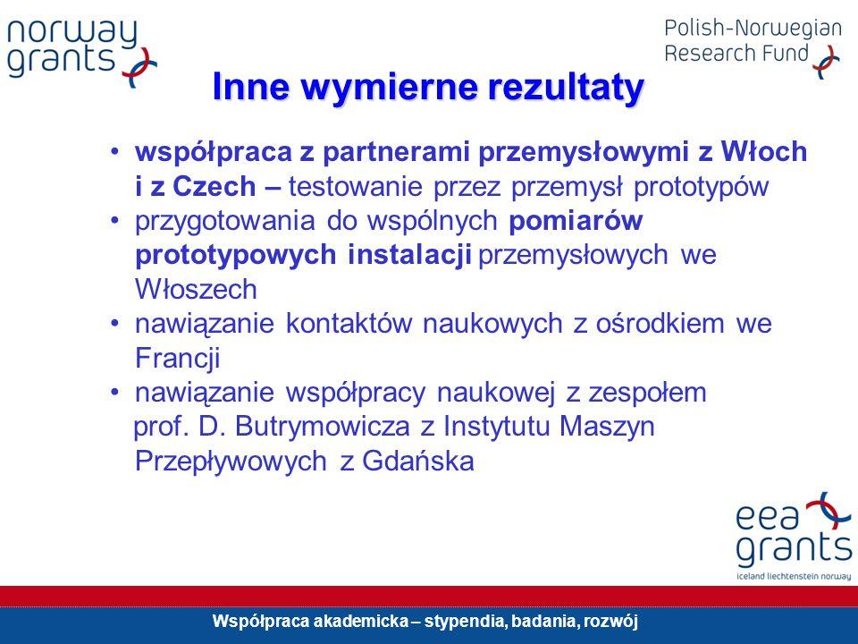 Współpraca akademicka – stypendia, badania, rozwój Inne wymierne rezultaty współpraca z partnerami przemysłowymi z Włoch i z Czech – testowanie przez