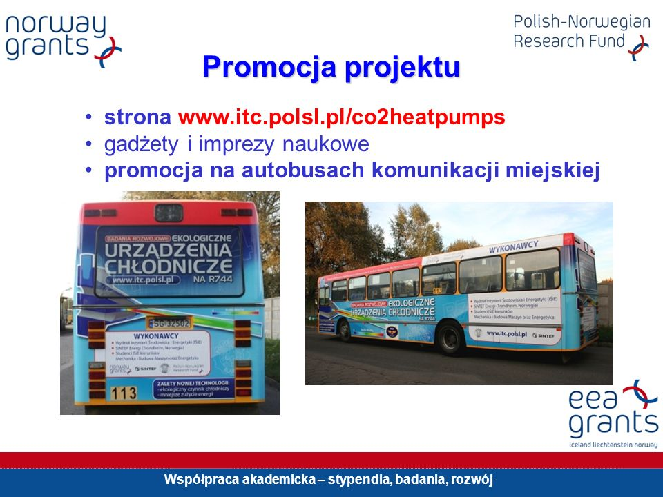 Współpraca akademicka – stypendia, badania, rozwój Promocja projektu strona www.itc.polsl.pl/co2heatpumps gadżety i imprezy naukowe promocja na autobu