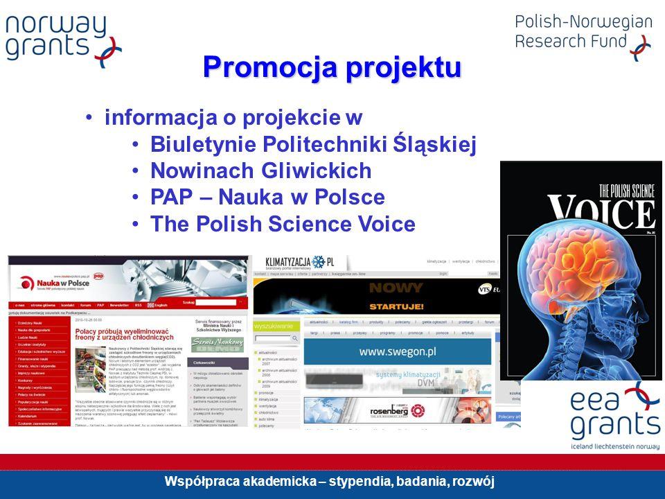 Współpraca akademicka – stypendia, badania, rozwój Promocja projektu informacja o projekcie w Biuletynie Politechniki Śląskiej Nowinach Gliwickich PAP