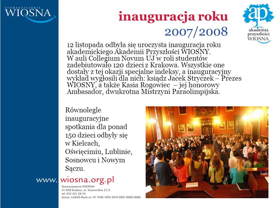 inauguracja roku 2007/2008 12 listopada odbyła się uroczysta inauguracja roku akademickiego Akademii Przyszłości WIOSNY.