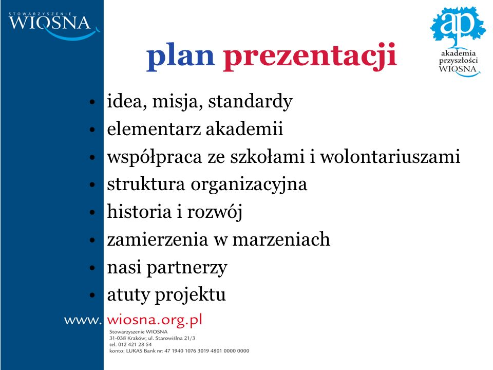 plan prezentacji idea, misja, standardy elementarz akademii współpraca ze szkołami i wolontariuszami struktura organizacyjna historia i rozwój zamierzenia w marzeniach nasi partnerzy atuty projektu