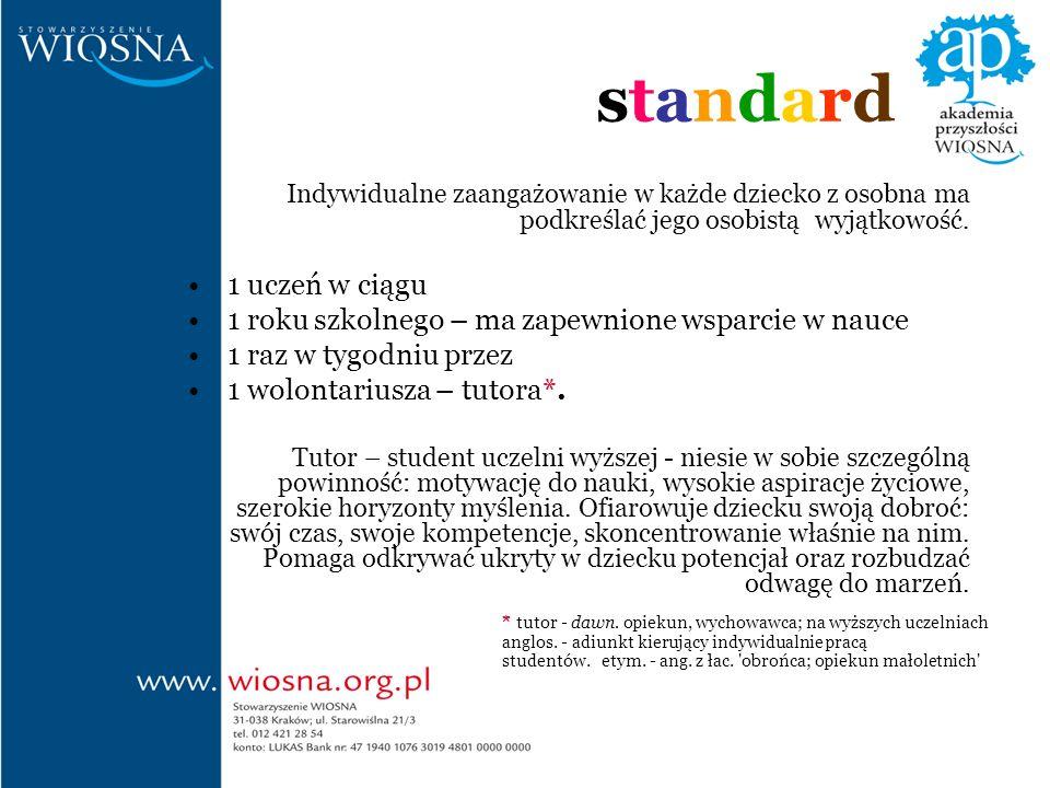 standardstandard Indywidualne zaangażowanie w każde dziecko z osobna ma podkreślać jego osobistą wyjątkowość.