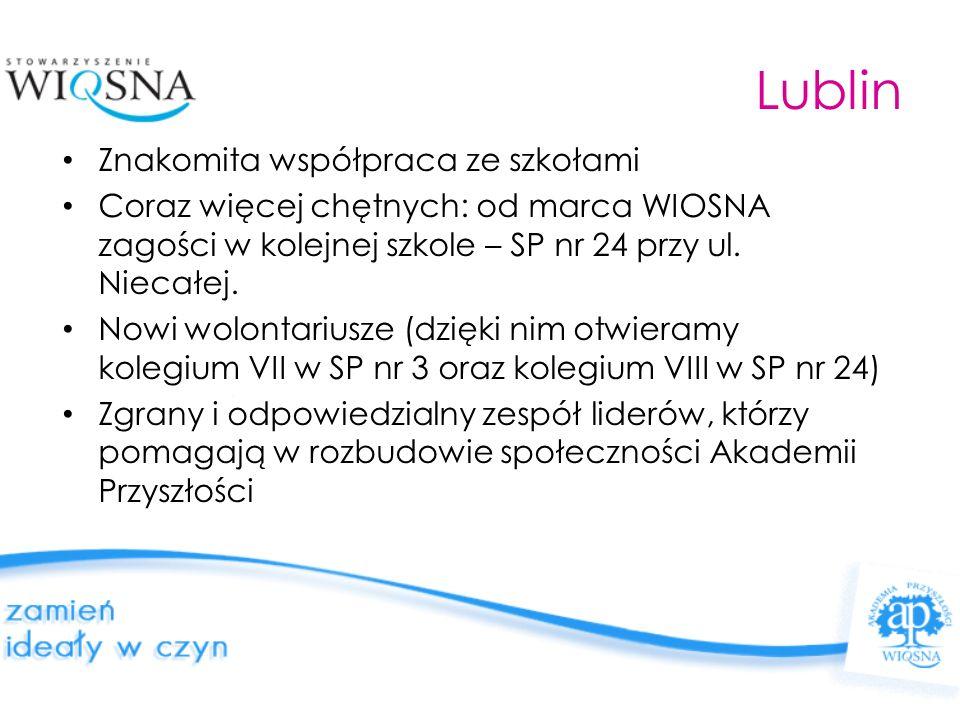 Lublin Znakomita współpraca ze szkołami Coraz więcej chętnych: od marca WIOSNA zagości w kolejnej szkole – SP nr 24 przy ul. Niecałej. Nowi wolontariu