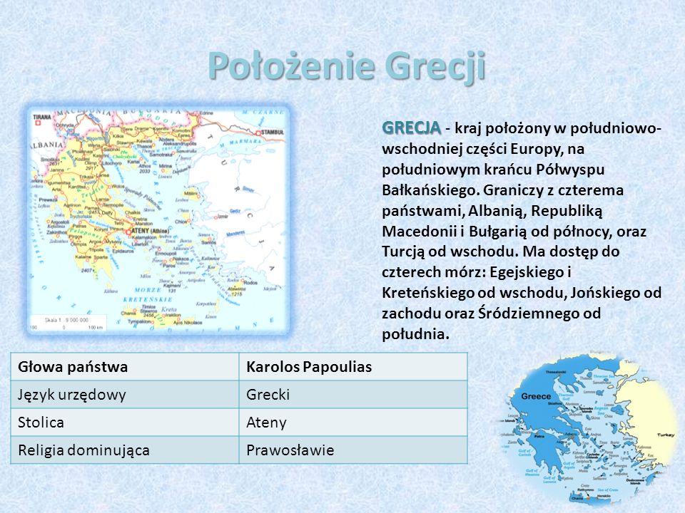 Położenie Grecji GRECJA GRECJA - kraj położony w południowo- wschodniej części Europy, na południowym krańcu Półwyspu Bałkańskiego. Graniczy z czterem
