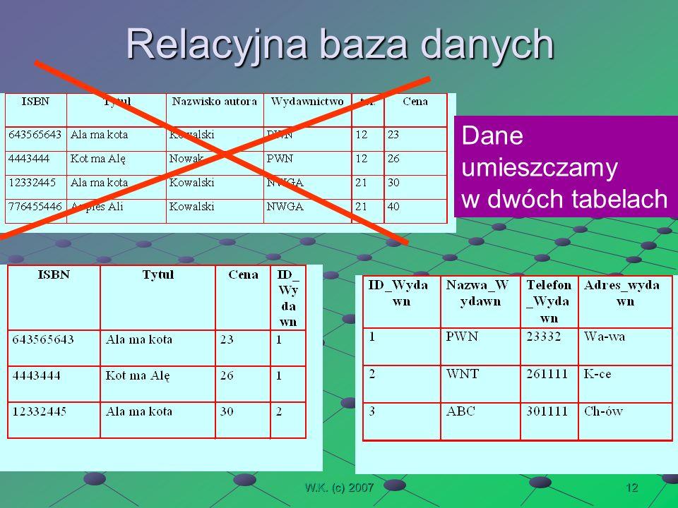 12W.K. (c) 2007 Relacyjna baza danych Dane umieszczamy w dwóch tabelach