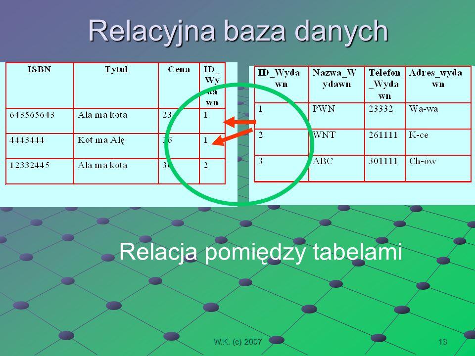 13W.K. (c) 2007 Relacyjna baza danych Relacja pomiędzy tabelami