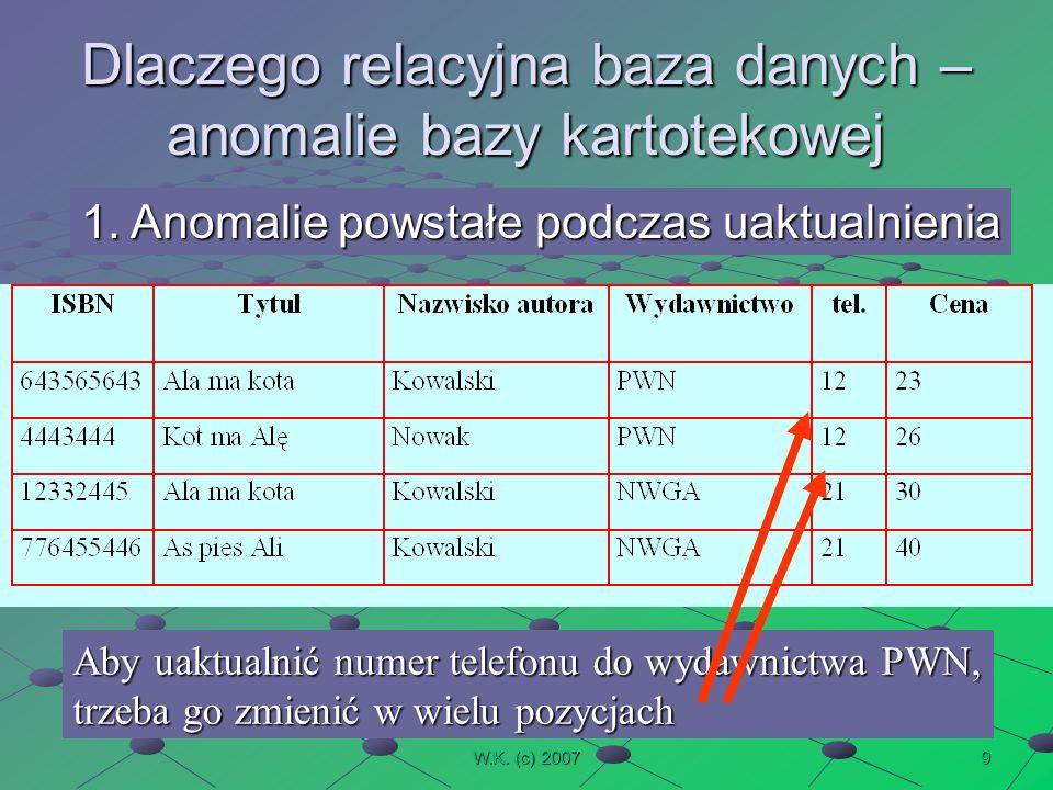 9W.K. (c) 2007 Dlaczego relacyjna baza danych – anomalie bazy kartotekowej 1.