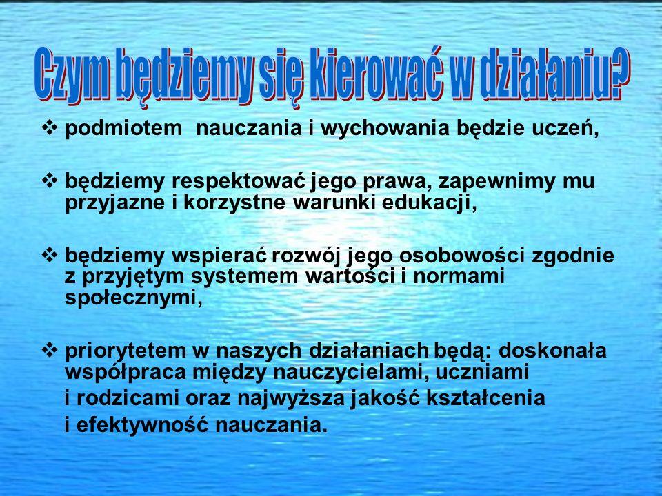 podmiotem nauczania i wychowania będzie uczeń, będziemy respektować jego prawa, zapewnimy mu przyjazne i korzystne warunki edukacji, będziemy wspierać