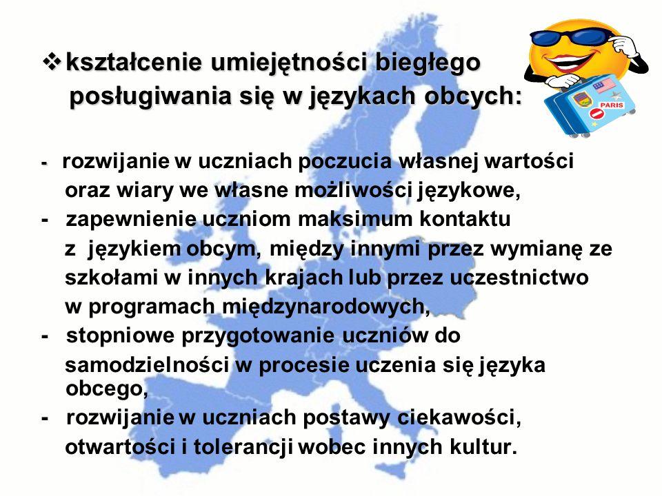kształcenie umiejętności biegłego kształcenie umiejętności biegłego posługiwania się w językach obcych: posługiwania się w językach obcych: - - rozwij