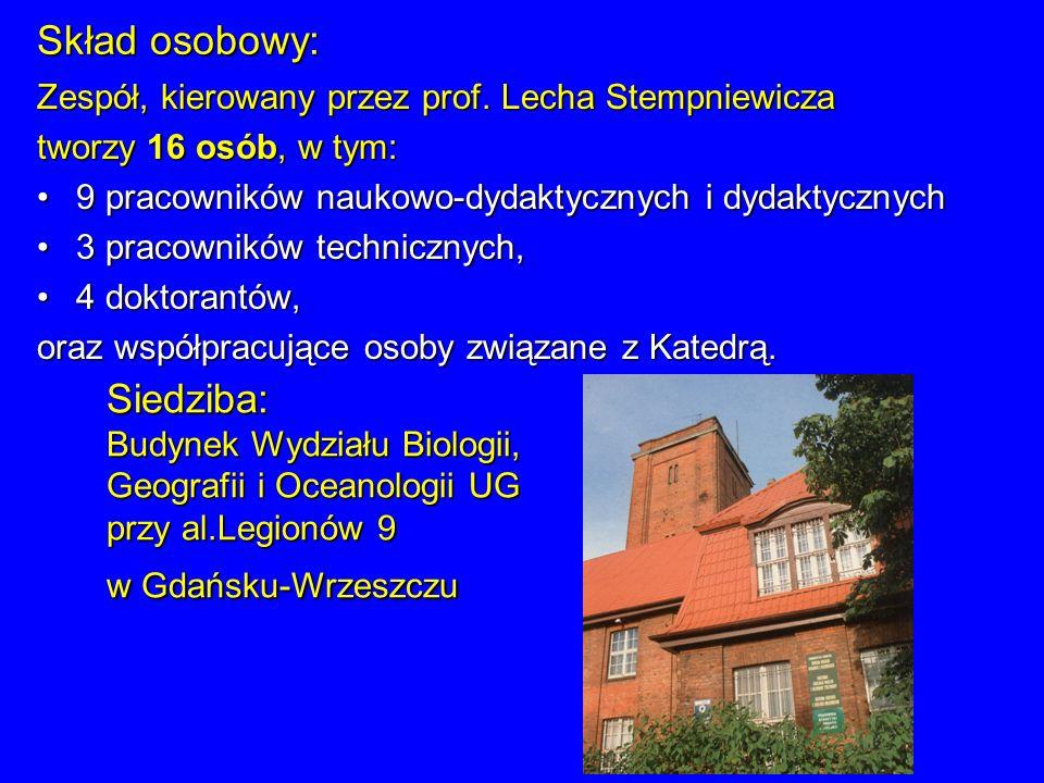 Skład osobowy: Zespół, kierowany przez prof. Lecha Stempniewicza tworzy 16 osób, w tym: 9 pracowników naukowo-dydaktycznych i dydaktycznych9 pracownik