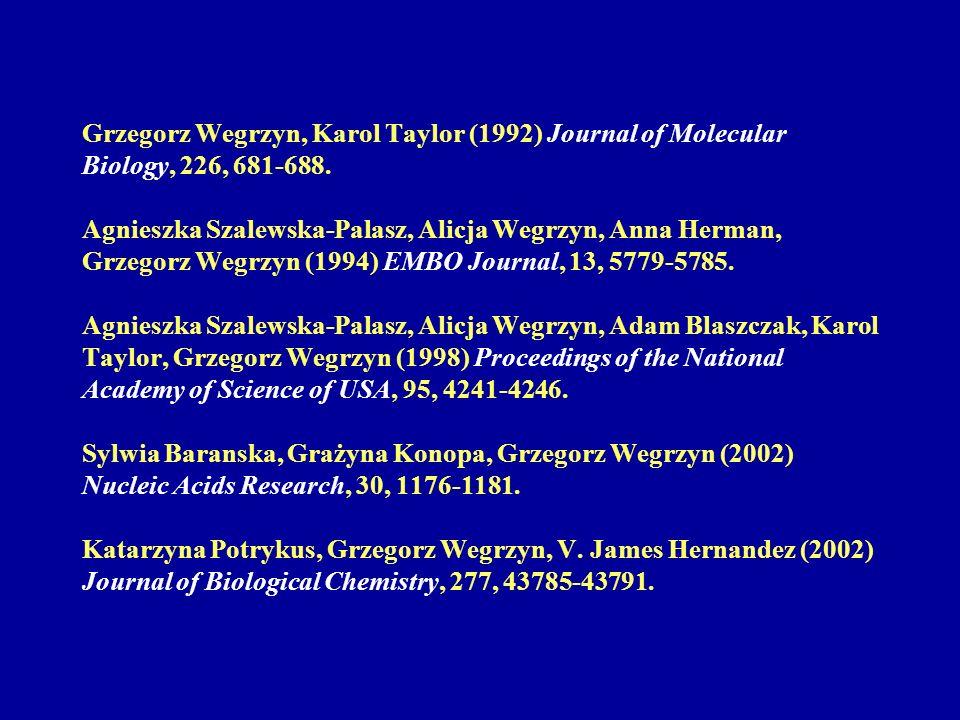 DnaA and SeqA, DNA replication regulators, are also specific transcription factors Monika Slomińska, Alicja Wegrzyn, Grazyna Konopa, Kirsten Skarstad, Grzegorz Wegrzyn (2001) Molecular Microbiology, 40, 1371-1380.