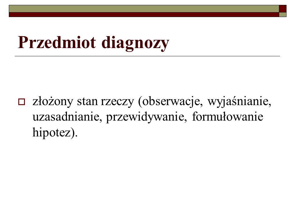 Przedmiot diagnozy złożony stan rzeczy (obserwacje, wyjaśnianie, uzasadnianie, przewidywanie, formułowanie hipotez).