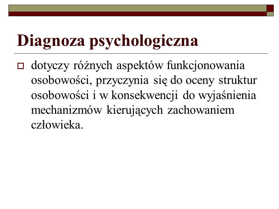 Diagnoza psychologiczna dotyczy różnych aspektów funkcjonowania osobowości, przyczynia się do oceny struktur osobowości i w konsekwencji do wyjaśnienia mechanizmów kierujących zachowaniem człowieka.