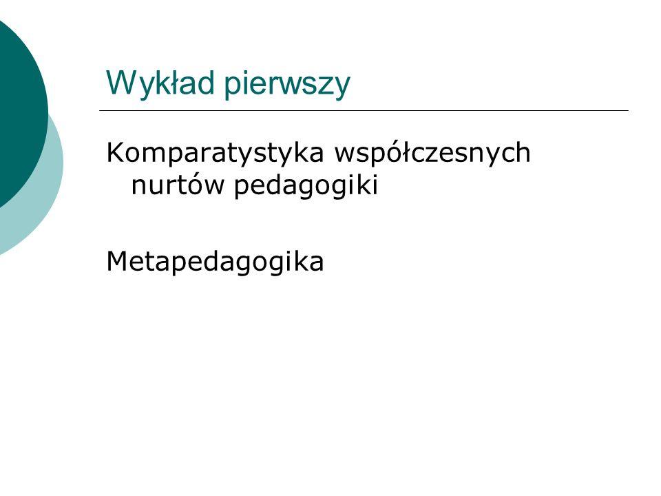 Wykład pierwszy Komparatystyka współczesnych nurtów pedagogiki Metapedagogika
