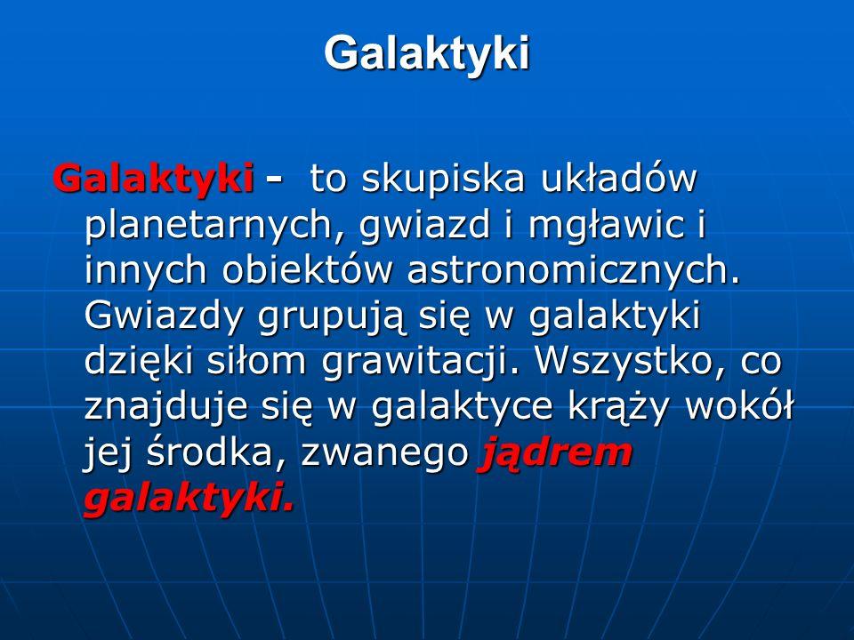 Galaktyki Galaktyki - to skupiska układów planetarnych, gwiazd i mgławic i innych obiektów astronomicznych.