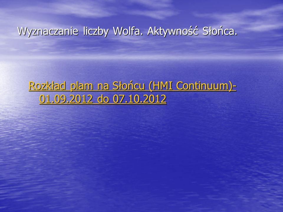 Wyznaczanie liczby Wolfa. Aktywność Słońca. Rozkład plam na Słońcu (HMI Continuum)- 01.09.2012 do 07.10.2012 Rozkład plam na Słońcu (HMI Continuum)- 0