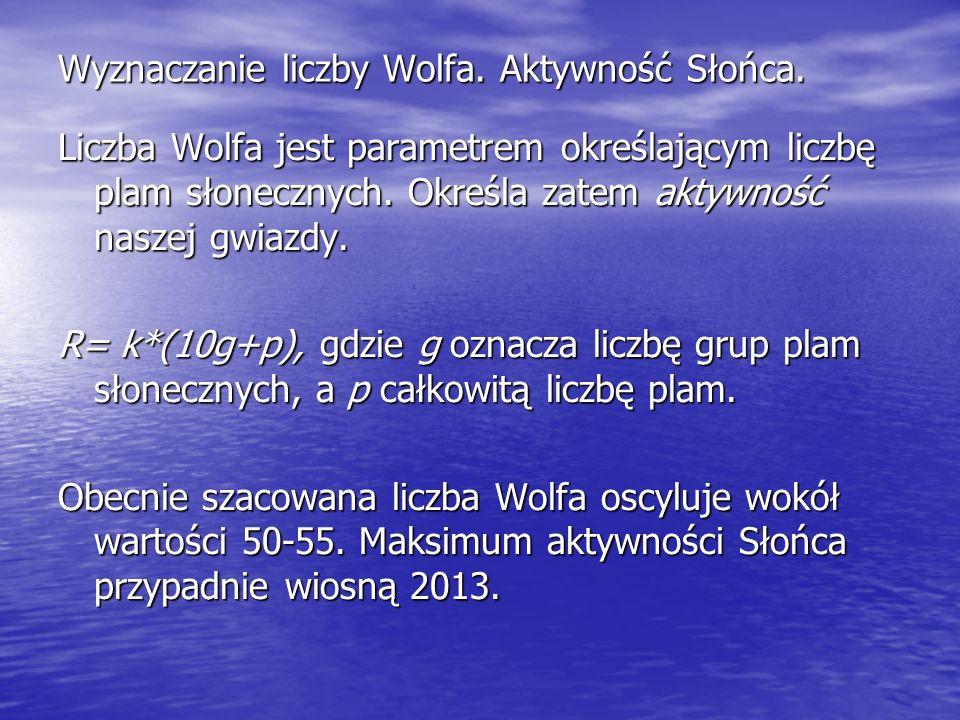 Wyznaczanie liczby Wolfa. Aktywność Słońca. Liczba Wolfa jest parametrem określającym liczbę plam słonecznych. Określa zatem aktywność naszej gwiazdy.