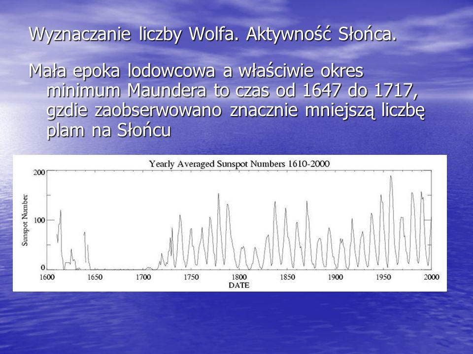 Wyznaczanie liczby Wolfa. Aktywność Słońca. Mała epoka lodowcowa a właściwie okres minimum Maundera to czas od 1647 do 1717, gzdie zaobserwowano znacz