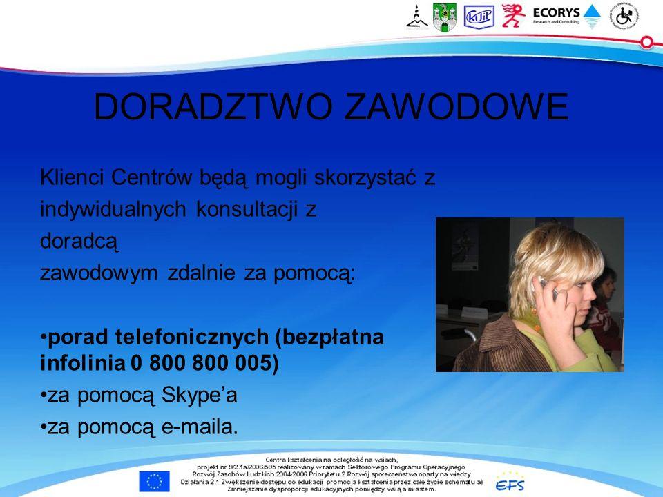 Klienci Centrów będą mogli skorzystać z indywidualnych konsultacji z doradcą zawodowym zdalnie za pomocą: porad telefonicznych (bezpłatna infolinia 0 800 800 005) za pomocą Skypea za pomocą e-maila.