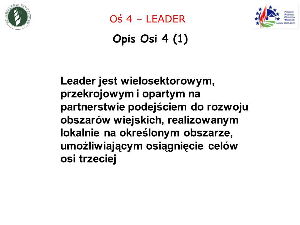 Leader jest wielosektorowym, przekrojowym i opartym na partnerstwie podejściem do rozwoju obszarów wiejskich, realizowanym lokalnie na określonym obszarze, umożliwiającym osiągnięcie celów osi trzeciej Oś 4 – LEADER Opis Osi 4 (1)