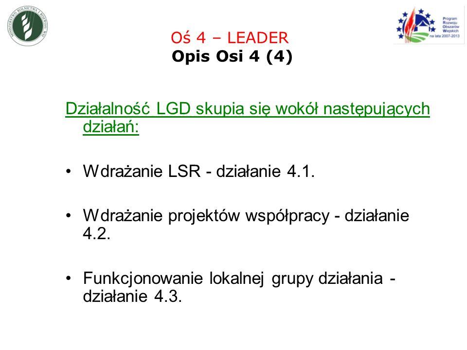 Działalność LGD skupia się wokół następujących działań: Wdrażanie LSR - działanie 4.1.