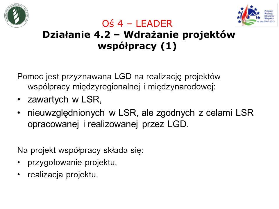 Pomoc jest przyznawana LGD na realizację projektów współpracy międzyregionalnej i międzynarodowej: zawartych w LSR, nieuwzględnionych w LSR, ale zgodnych z celami LSR opracowanej i realizowanej przez LGD.