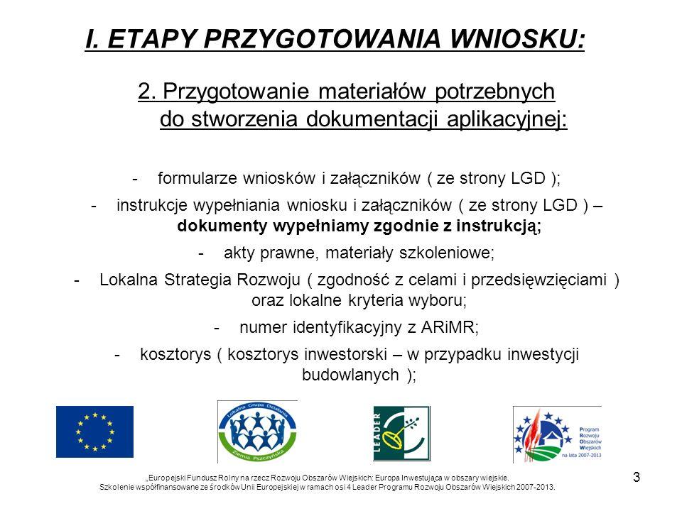 I. ETAPY PRZYGOTOWANIA WNIOSKU: 2. Przygotowanie materiałów potrzebnych do stworzenia dokumentacji aplikacyjnej: -formularze wniosków i załączników (