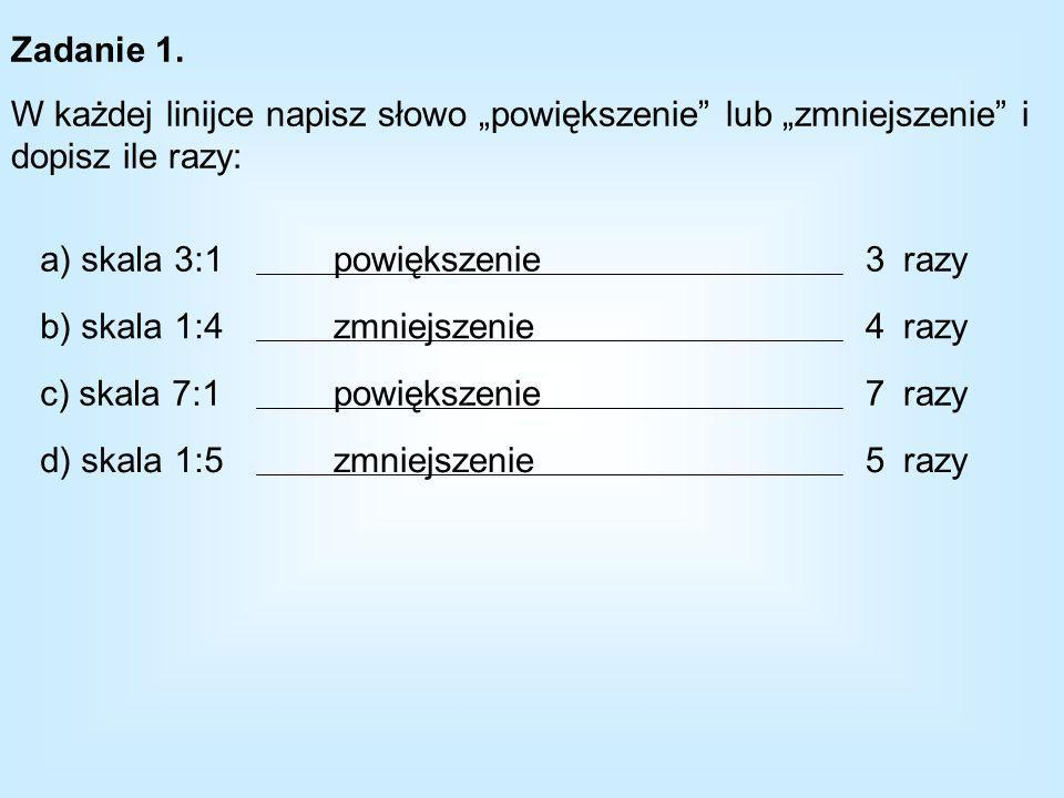 Zadanie 1. W każdej linijce napisz słowo powiększenie lub zmniejszenie i dopisz ile razy: a) skala 3:1 b) skala 1:4 c) skala 7:1 d) skala 1:5 razy pow