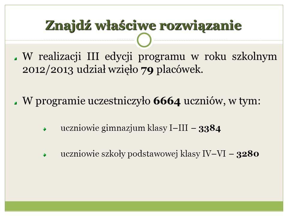 Znajdź właściwe rozwiązanie W realizacji III edycji programu w roku szkolnym 2012/2013 udział wzięło 79 placówek.